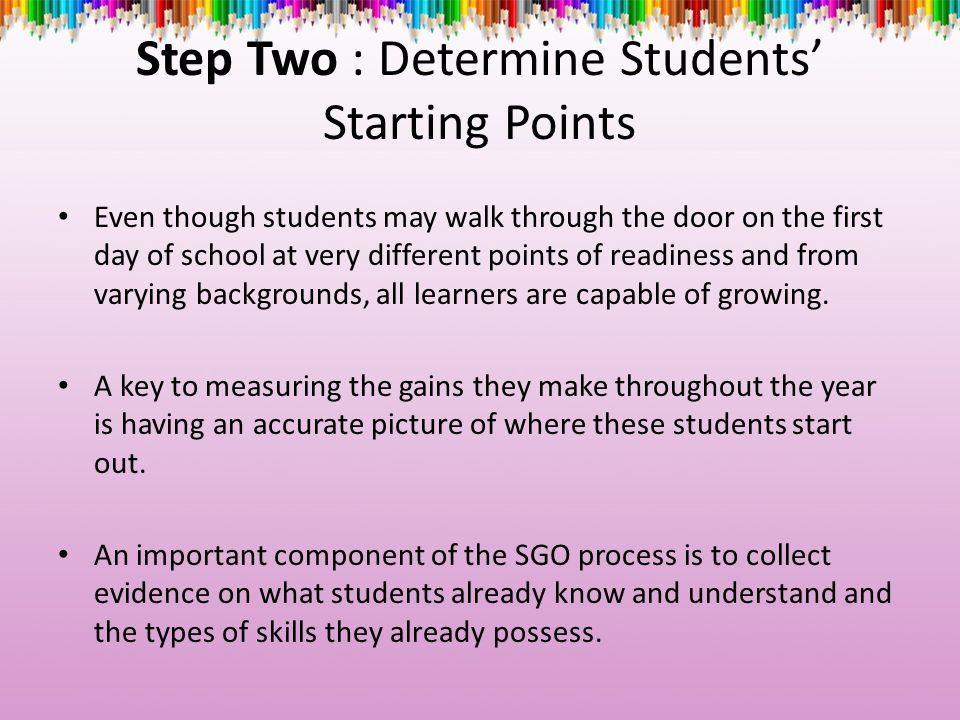 Step Two : Determine Students' Starting Points