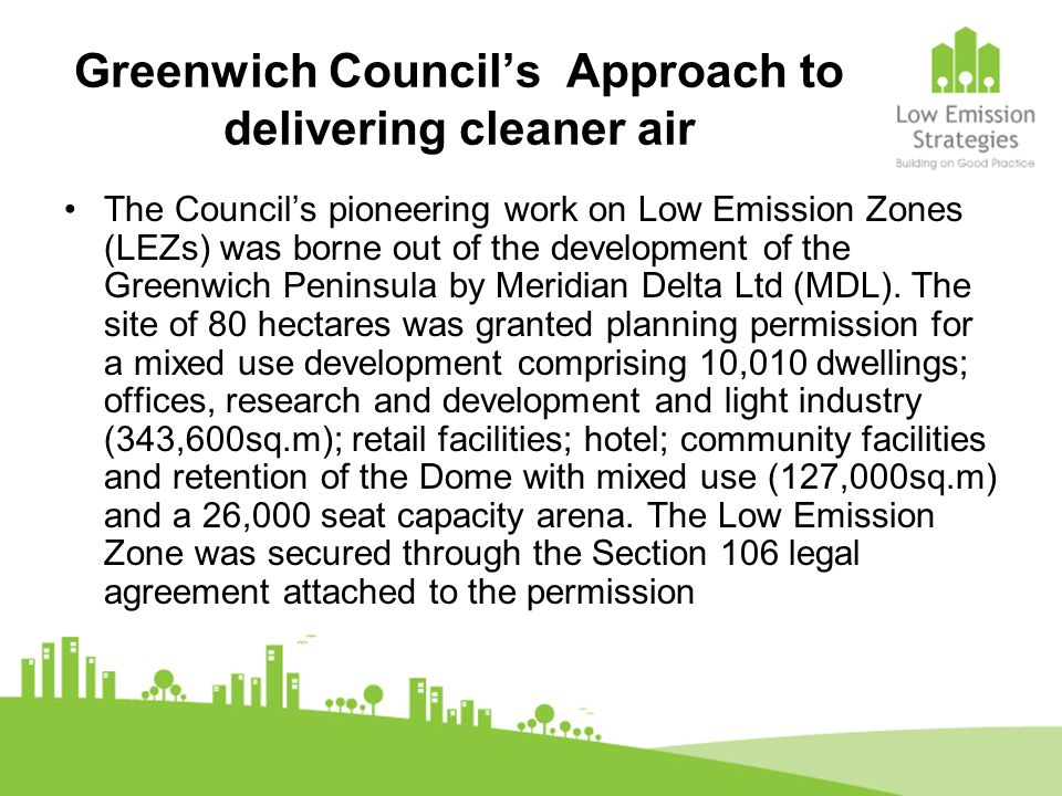 Greenwich Council's Approach to delivering cleaner air