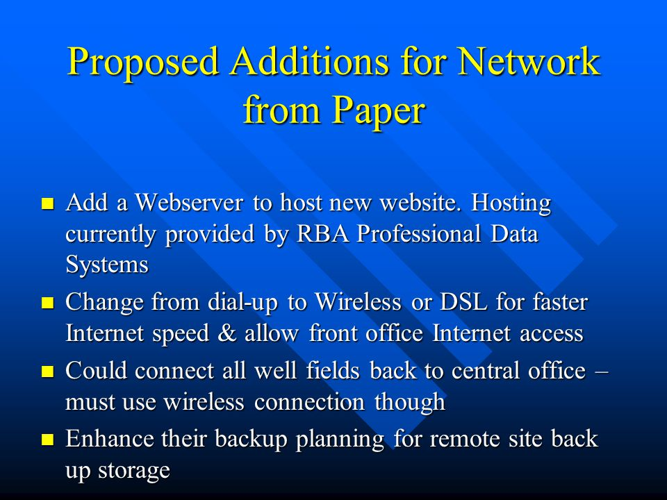 Proposed Additions for Network from Paper
