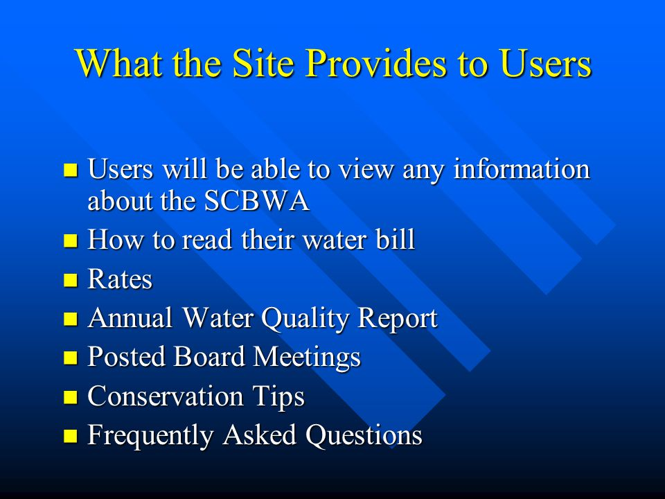 What the Site Provides to Users
