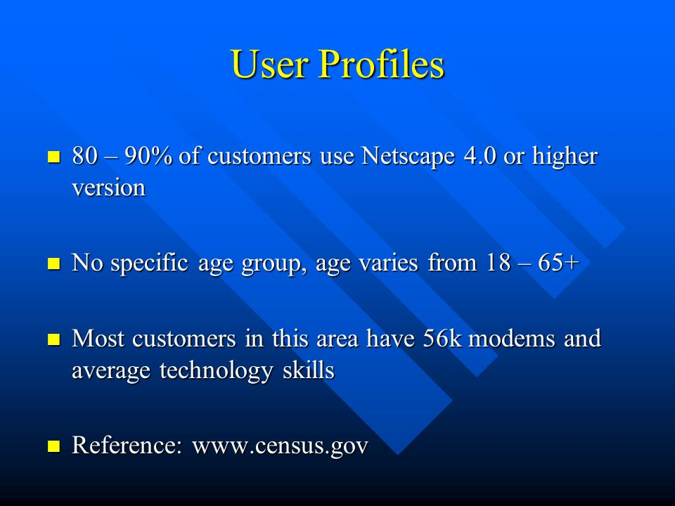 User Profiles 80 – 90% of customers use Netscape 4.0 or higher version