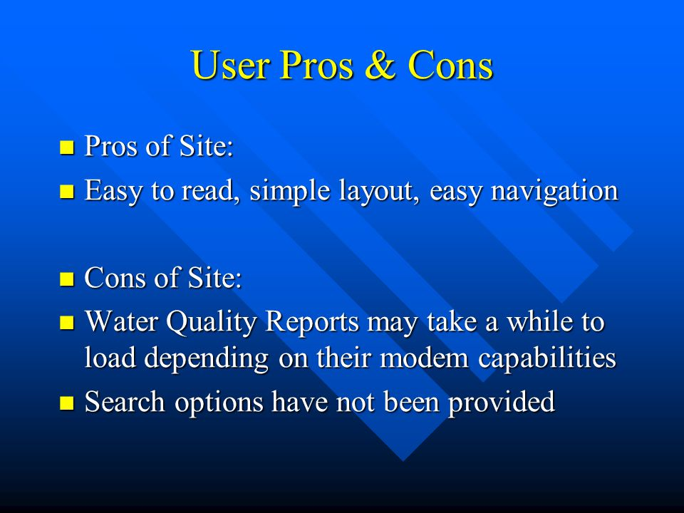 User Pros & Cons Pros of Site: