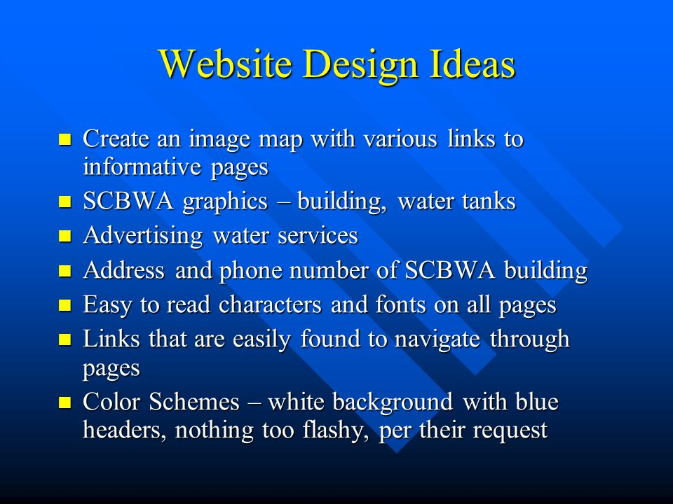 Website Design Ideas Create an image map with various links to informative pages. SCBWA graphics – building, water tanks.