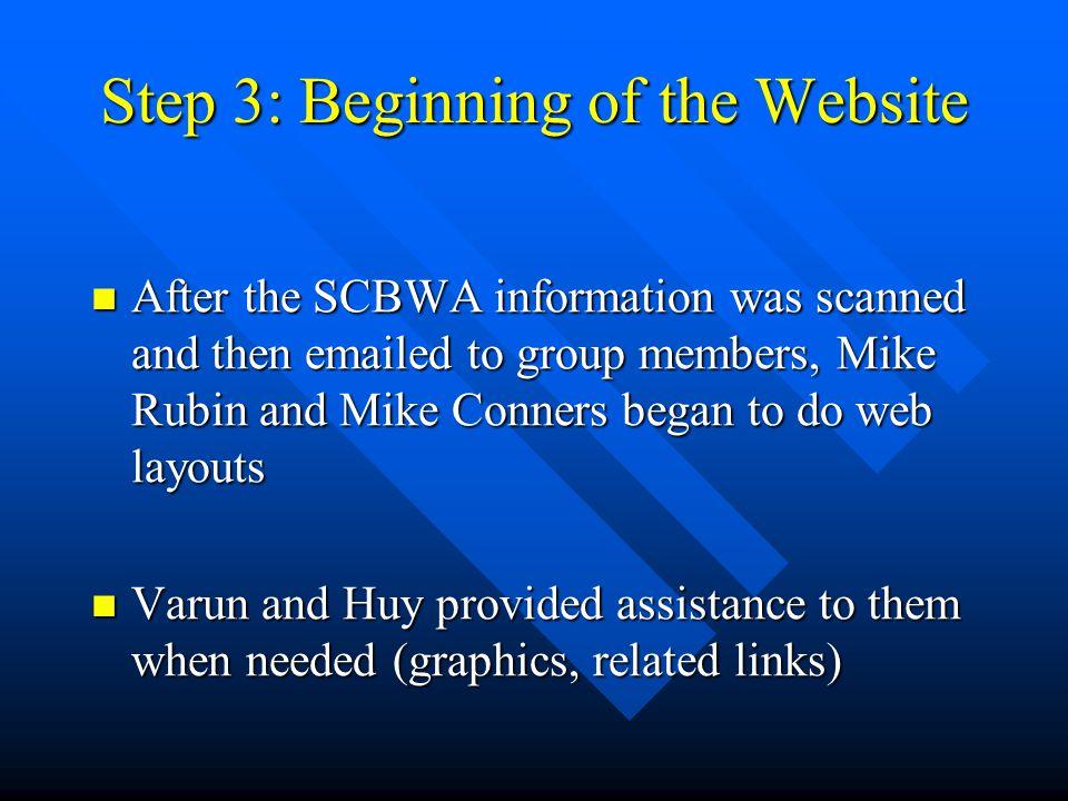 Step 3: Beginning of the Website