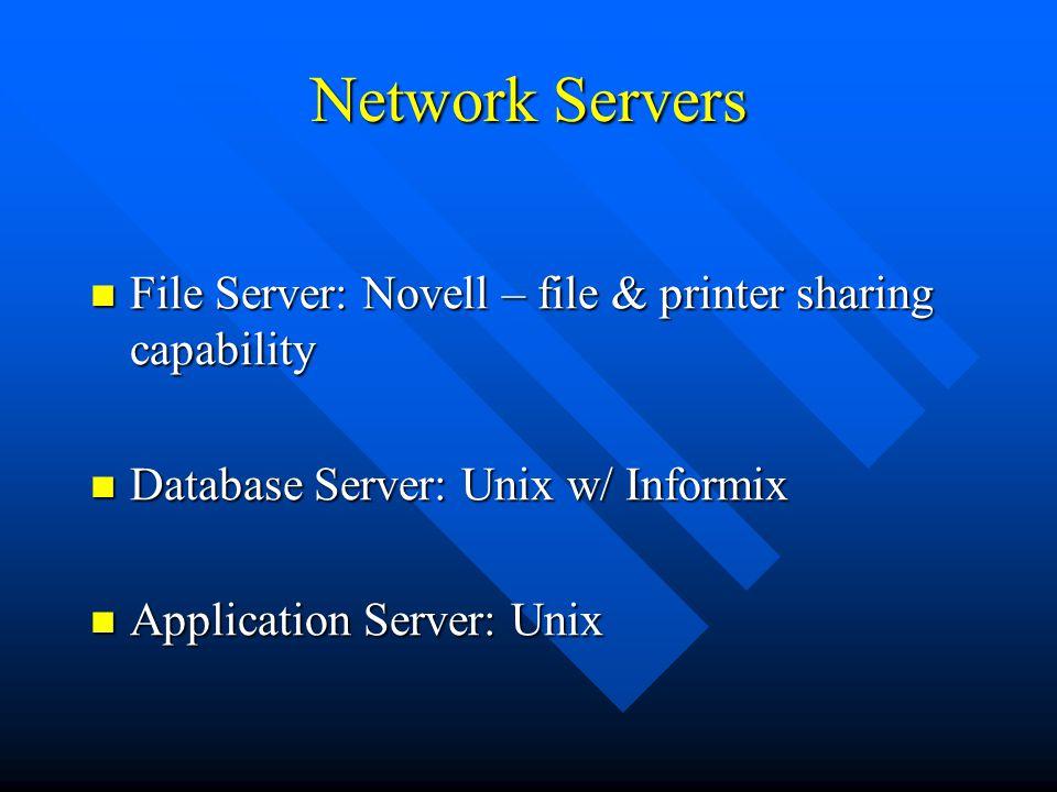 Network Servers File Server: Novell – file & printer sharing capability. Database Server: Unix w/ Informix.