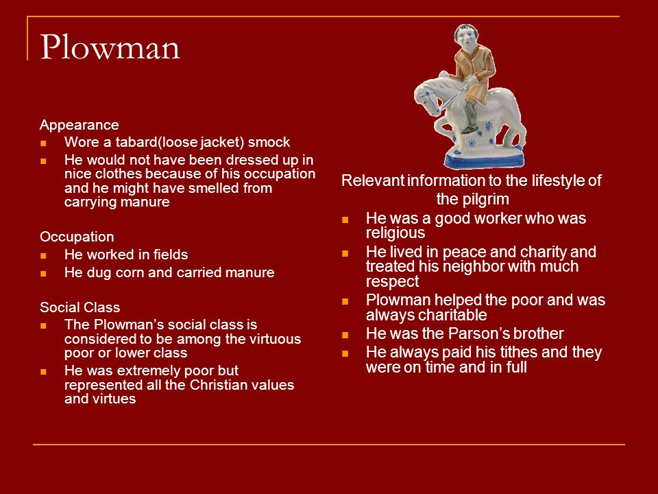 Plowman Relevant information to the lifestyle of the pilgrim