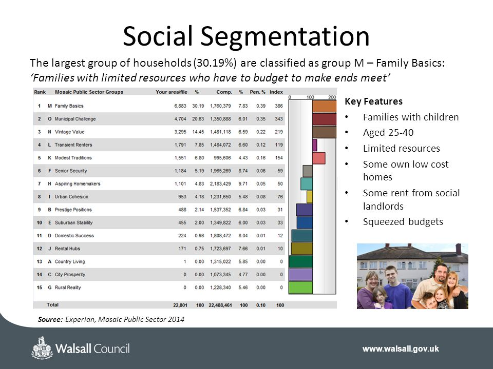 Social Segmentation The largest group of households (30.19%) are classified as group M – Family Basics: