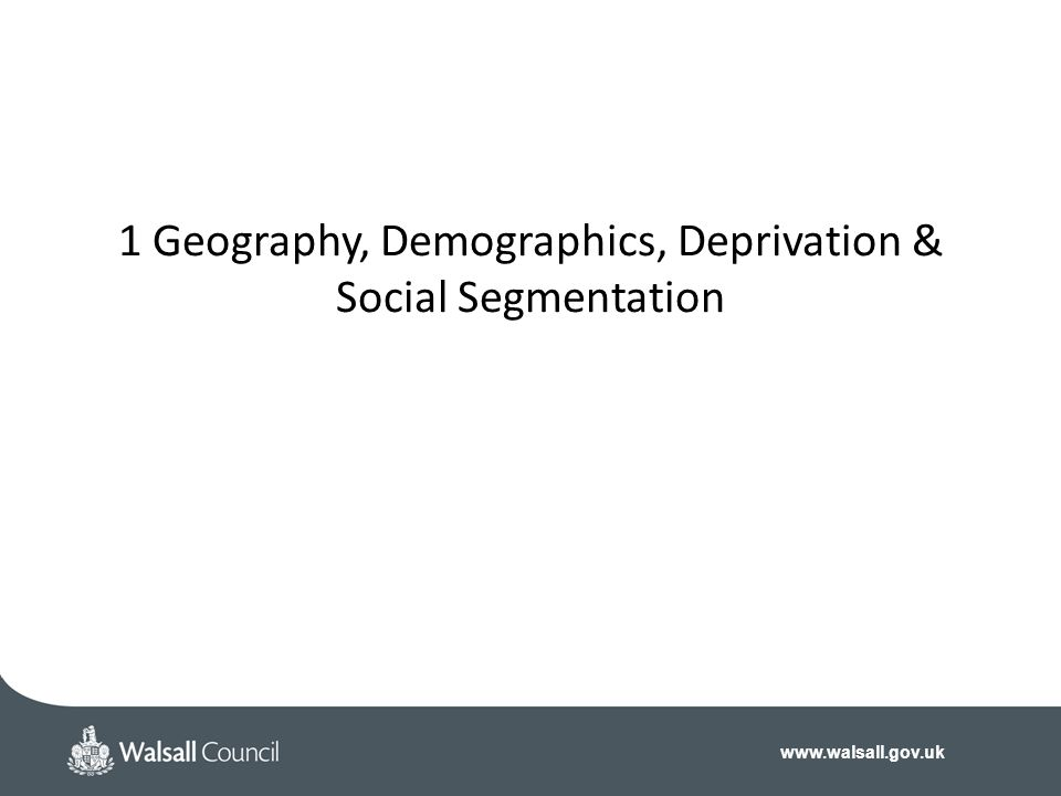 1 Geography, Demographics, Deprivation & Social Segmentation