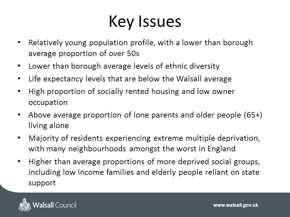 Key Issues Relatively young population profile, with a lower than borough average proportion of over 50s.