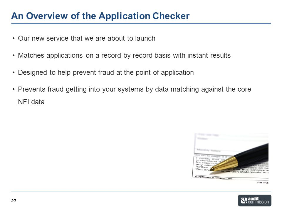 An Overview of the Application Checker