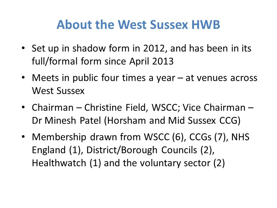 About the West Sussex HWB