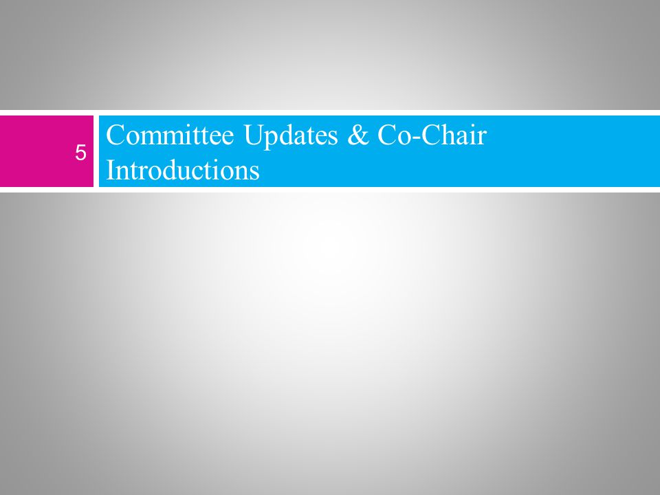 Committee Updates & Co-Chair Introductions