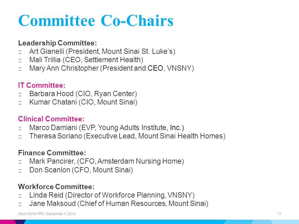 Committee Co-Chairs Leadership Committee: