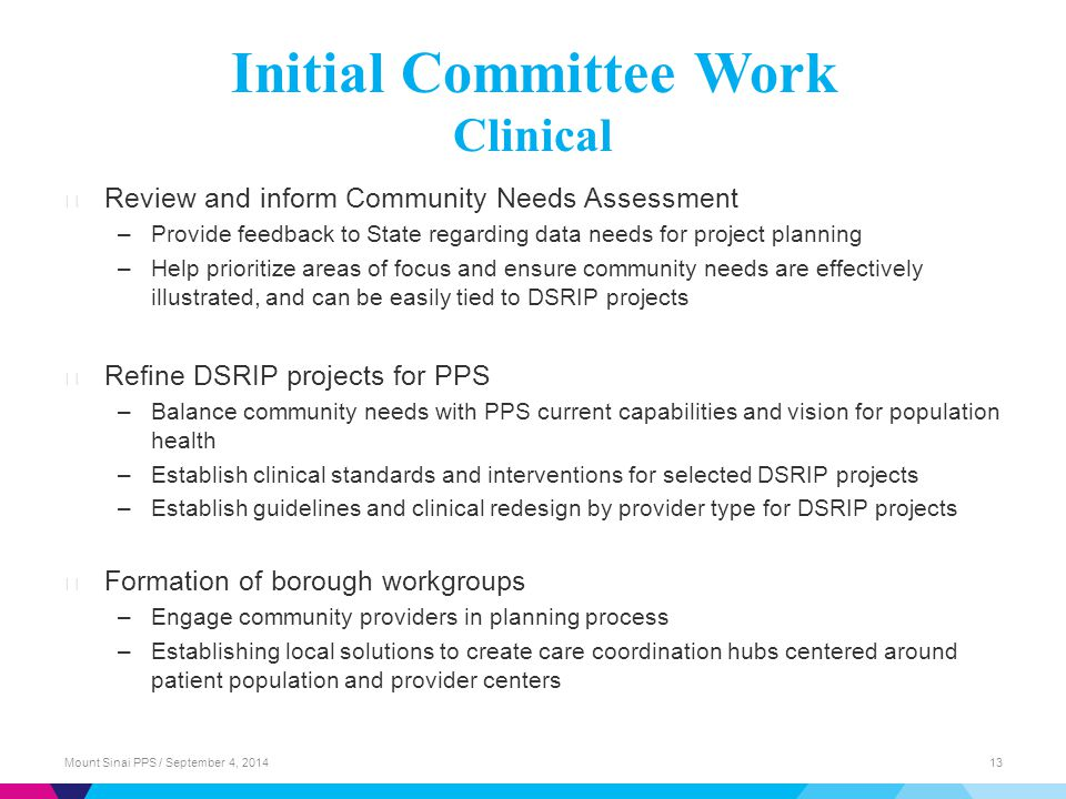 Initial Committee Work Clinical