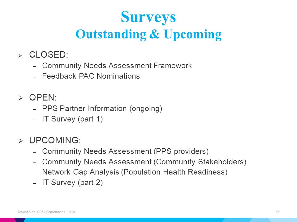 Surveys Outstanding & Upcoming