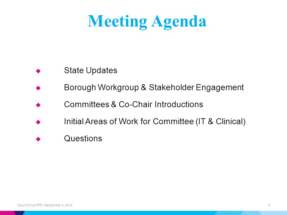 Meeting Agenda State Updates
