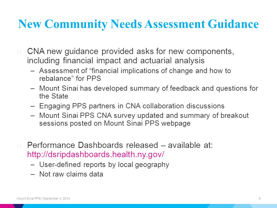 New Community Needs Assessment Guidance