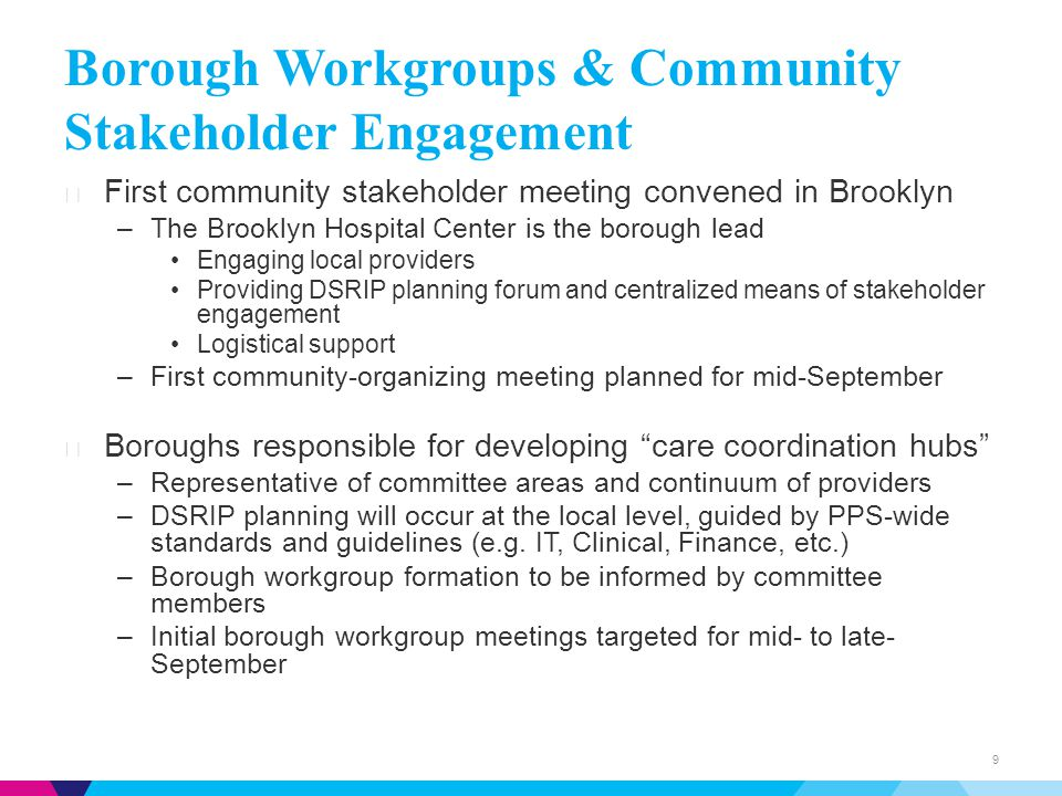 Borough Workgroups & Community Stakeholder Engagement