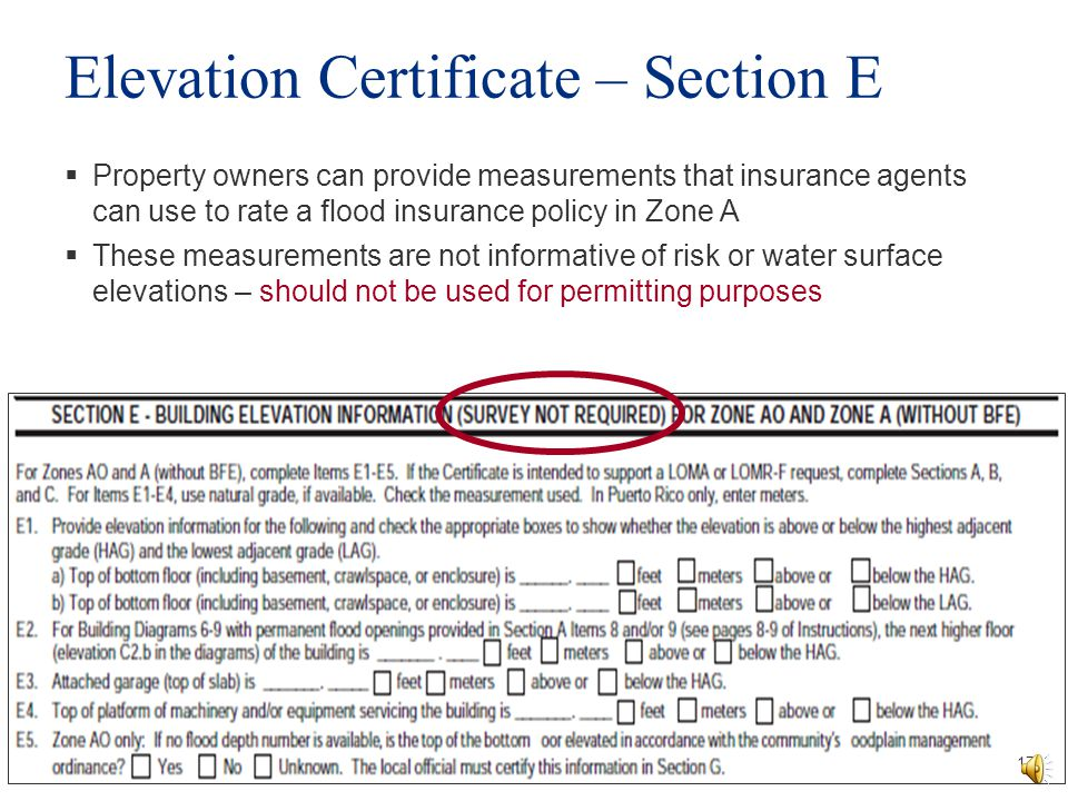 Elevation Certificate – Section E