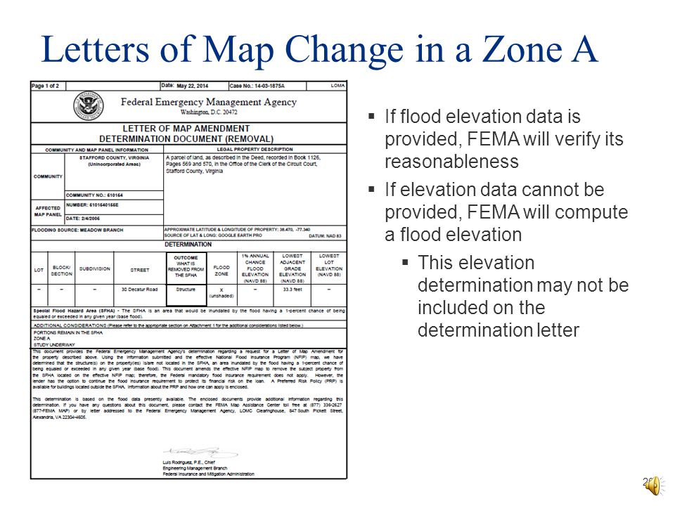 Letters of Map Change in a Zone A