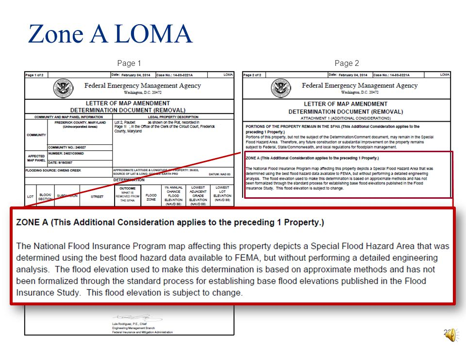Zone A LOMA Page 1. Page 2.