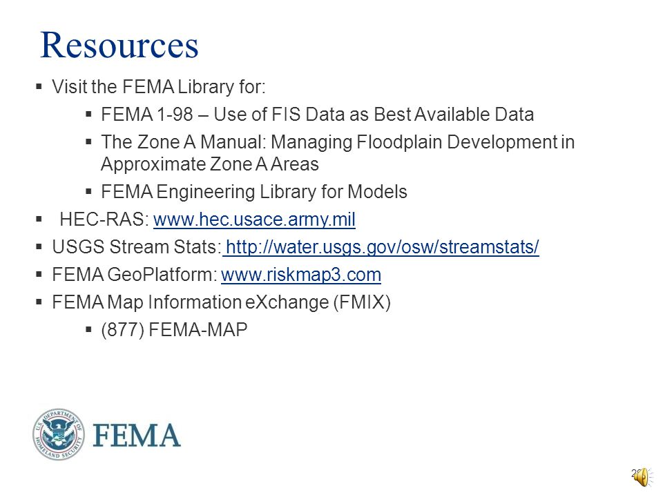 Resources Visit the FEMA Library for: