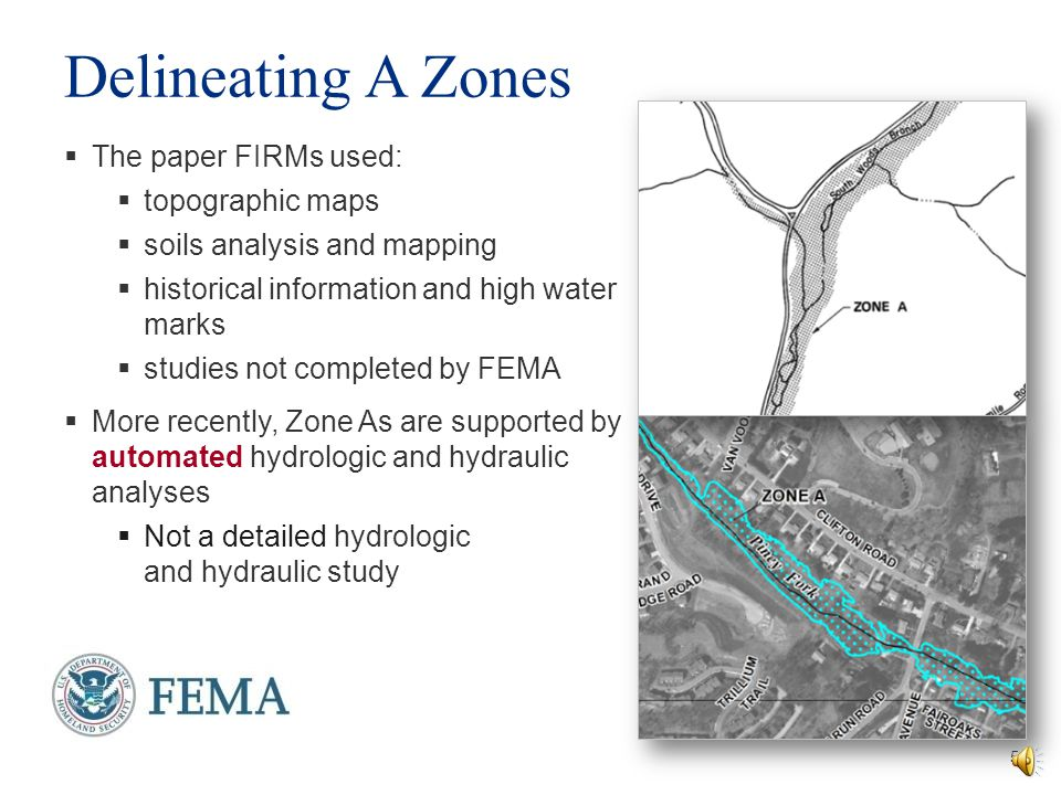Delineating A Zones The paper FIRMs used: topographic maps