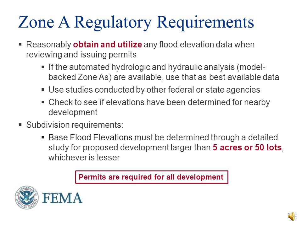 Zone A Regulatory Requirements
