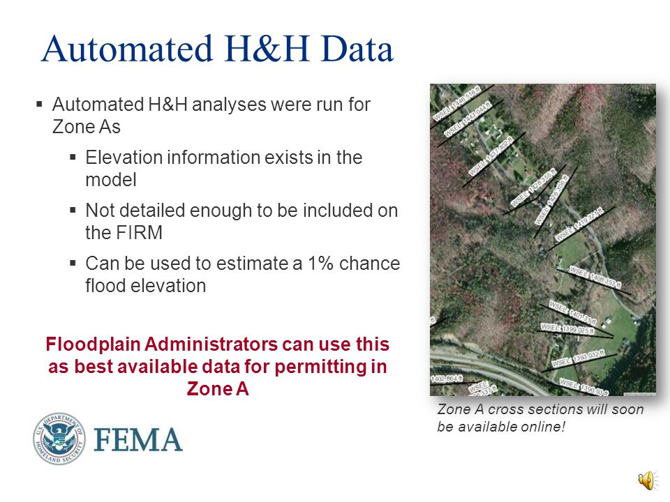 Automated H&H Data Automated H&H analyses were run for Zone As