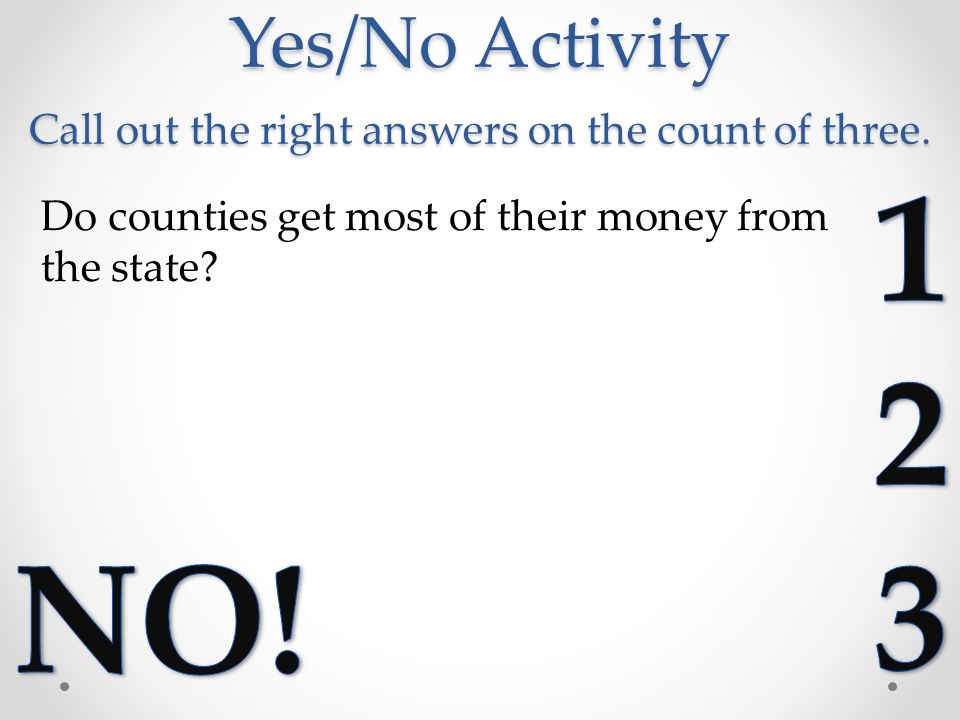 Yes/No Activity Call out the right answers on the count of three.