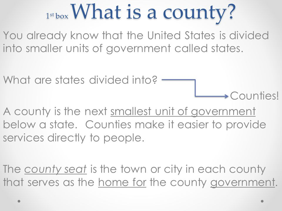 1st box What is a county