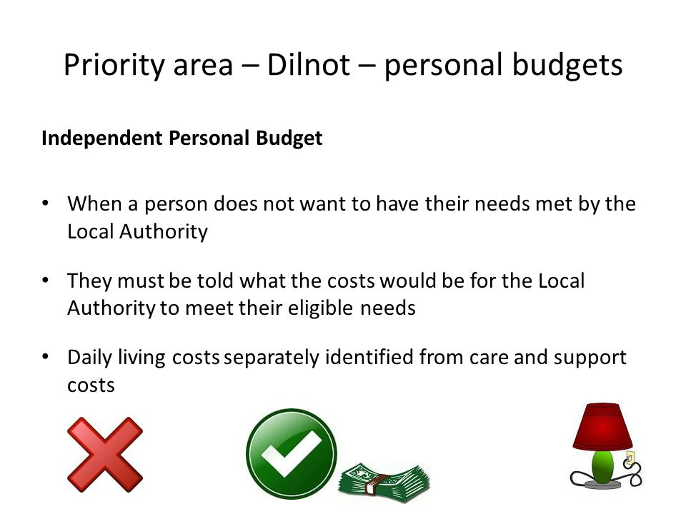Priority area – Dilnot – personal budgets