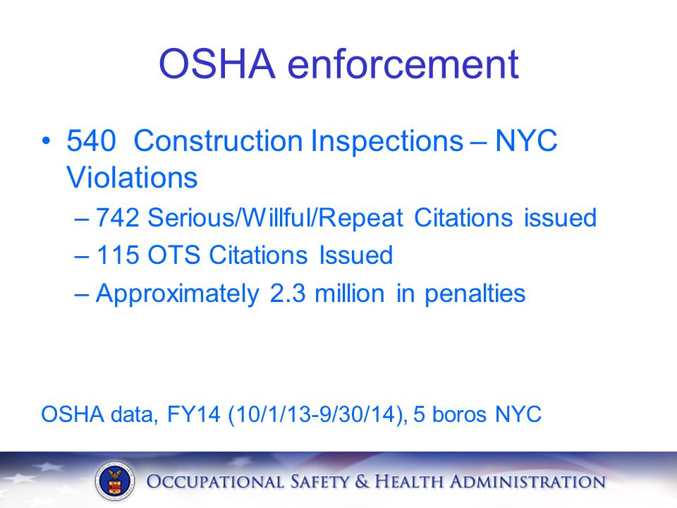 OSHA enforcement 540 Construction Inspections – NYC Violations