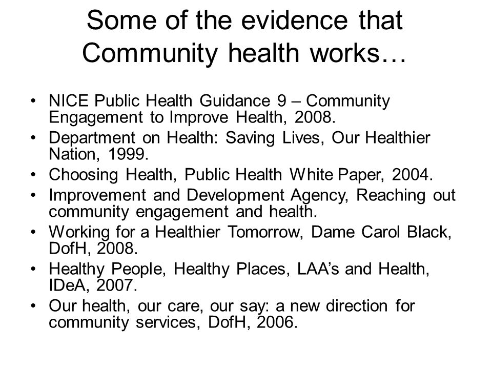 Some of the evidence that Community health works…