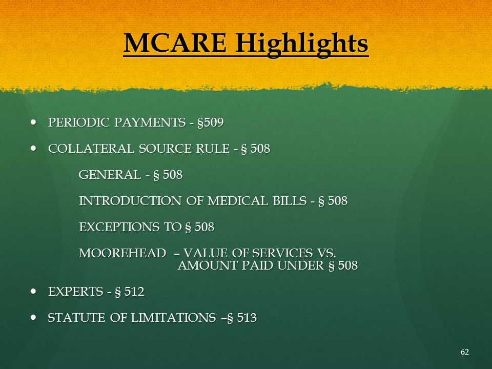 MCARE Highlights PERIODIC PAYMENTS - §509