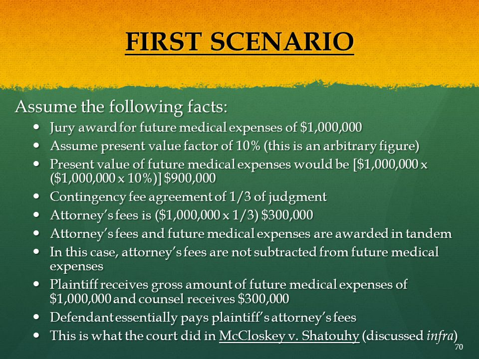 FIRST SCENARIO Assume the following facts: