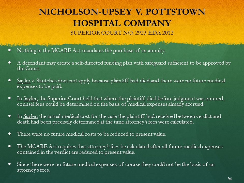 NICHOLSON-UPSEY V. POTTSTOWN HOSPITAL COMPANY SUPERIOR COURT NO
