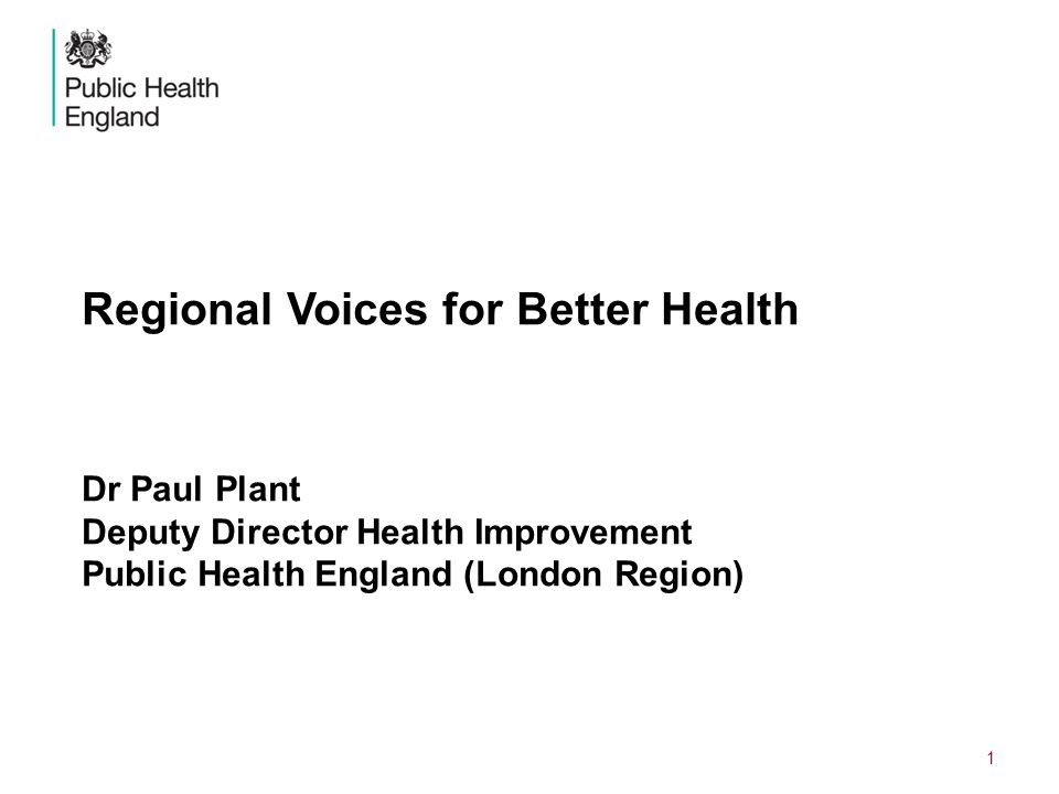DRAFT, IN PREPARATION Regional Voices for Better Health Dr Paul Plant Deputy Director Health Improvement Public Health England (London Region)