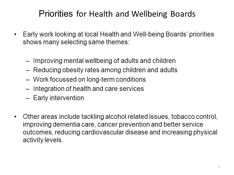Priorities for Health and Wellbeing Boards