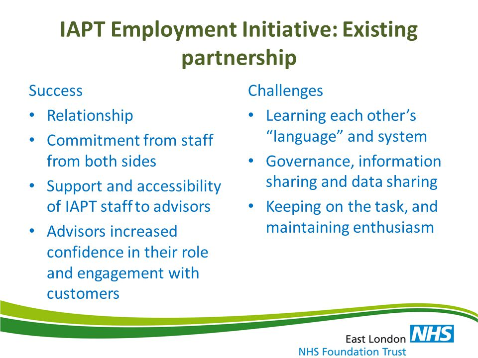 IAPT Employment Initiative: Existing partnership