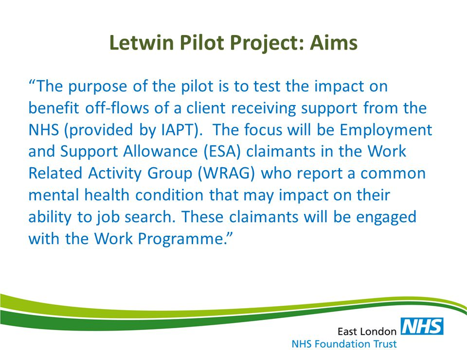 Letwin Pilot Project: Aims
