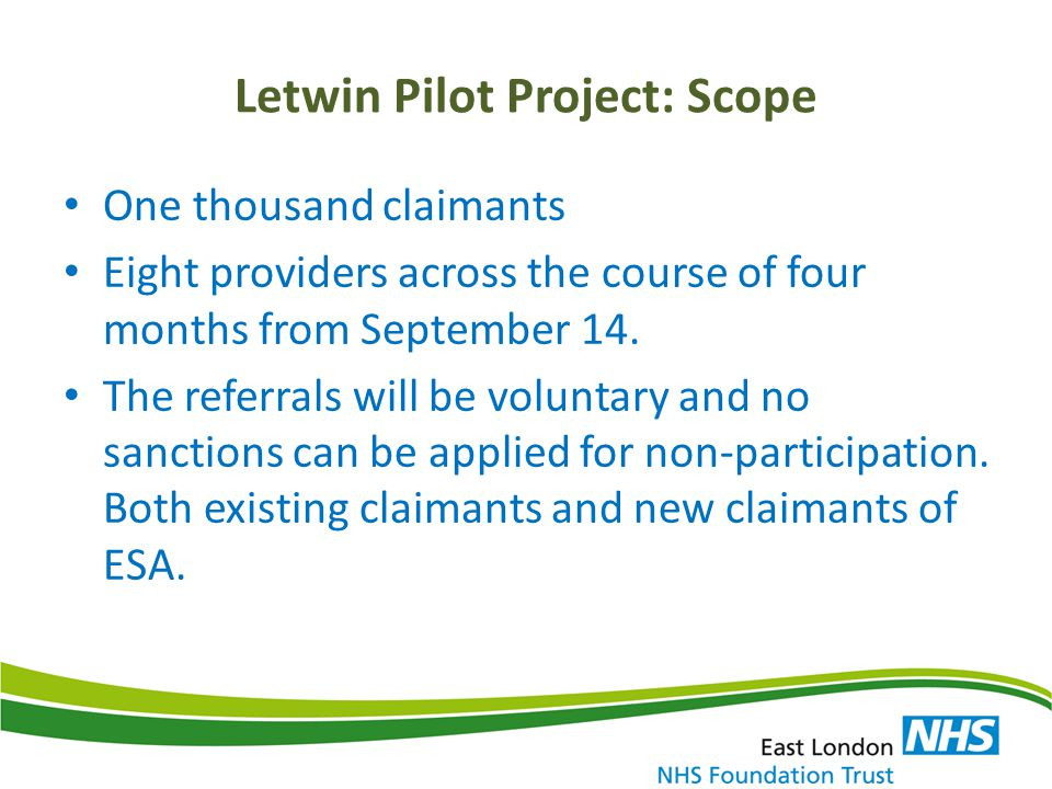 Letwin Pilot Project: Scope