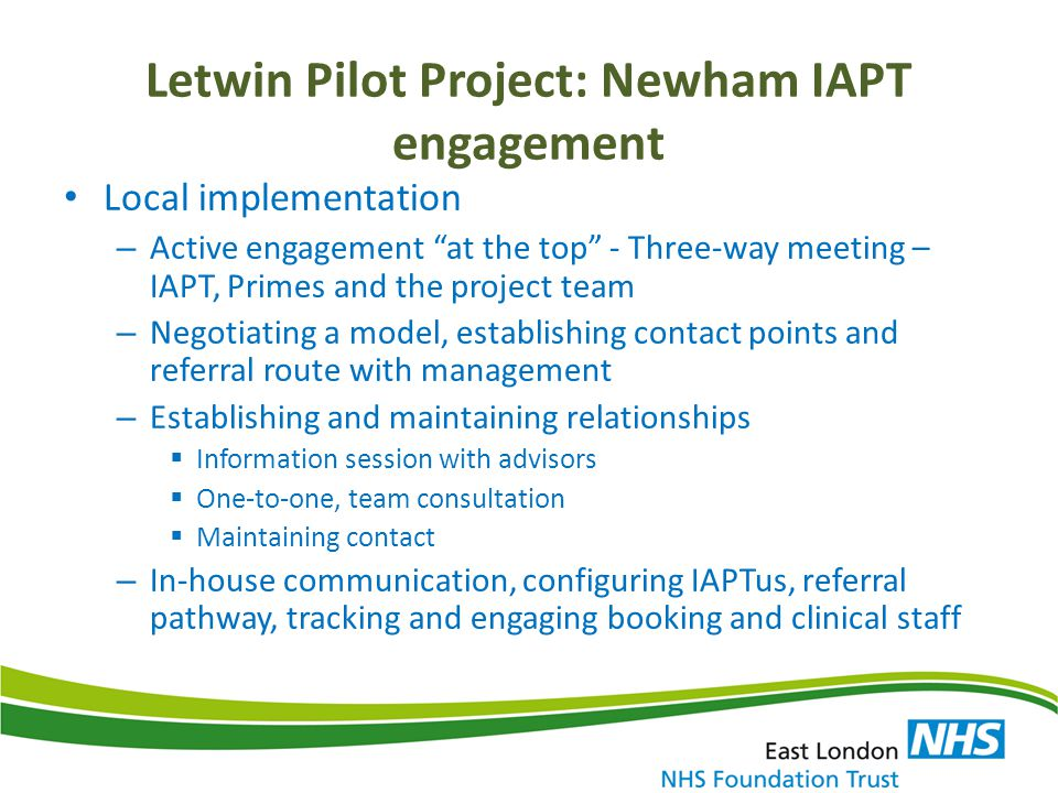 Letwin Pilot Project: Newham IAPT engagement