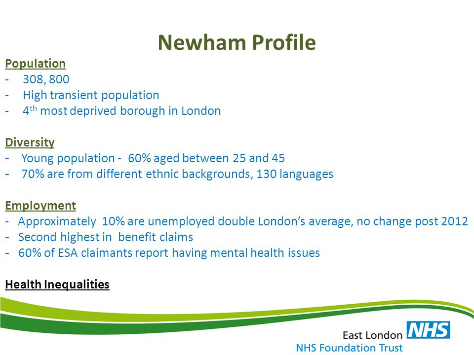 Newham Profile Population 308, 800 High transient population