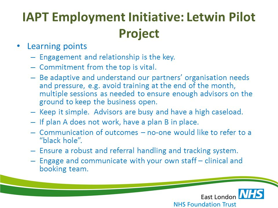 IAPT Employment Initiative: Letwin Pilot Project