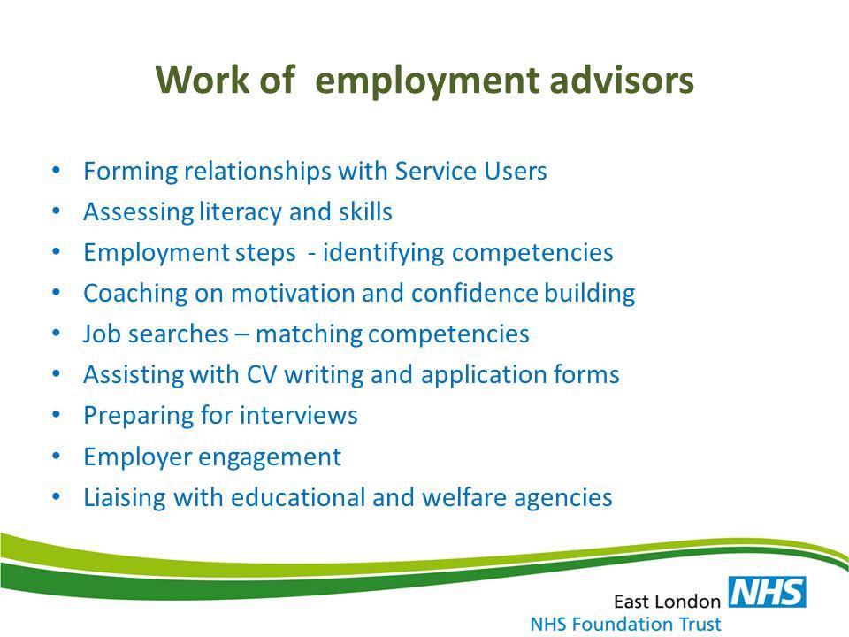 Work of employment advisors