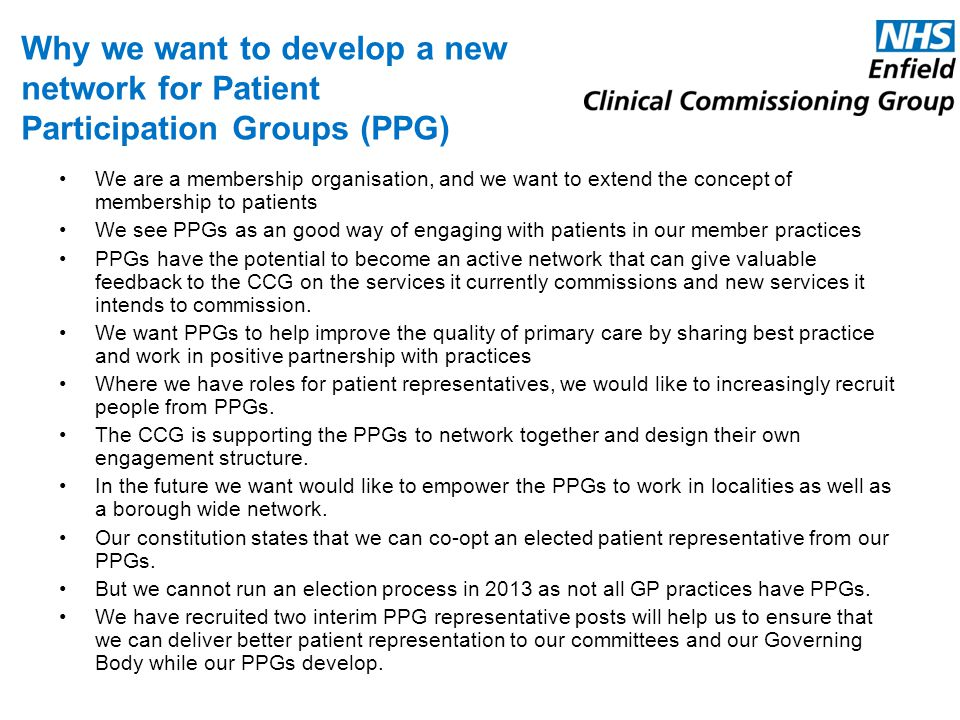 Why we want to develop a new network for Patient Participation Groups (PPG)