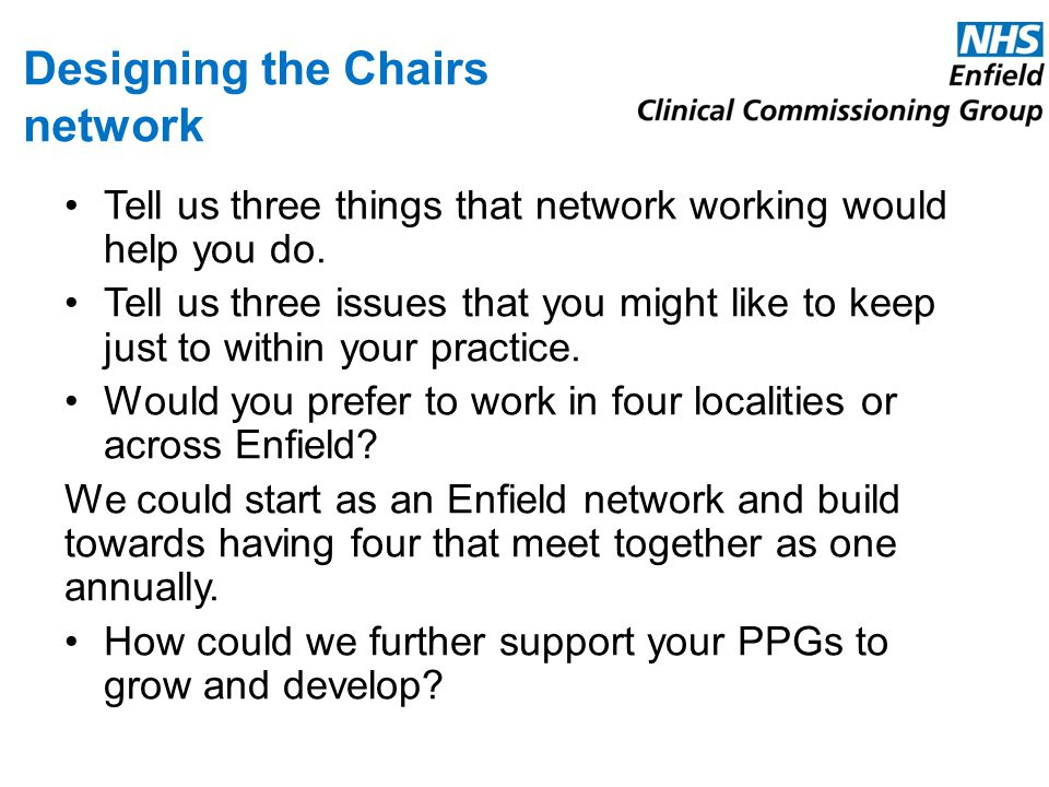 Designing the Chairs network