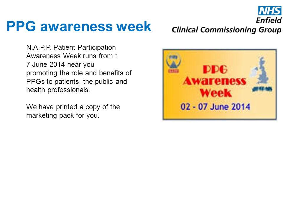 PPG awareness week N.A.P.P. Patient Participation Awareness Week runs from 1. 7 June 2014 near you.
