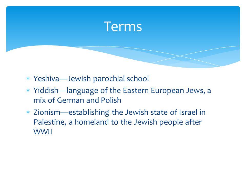 Terms Yeshiva—Jewish parochial school